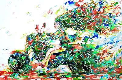 Harley Davidson Painting - Motor Demon Running Fast by Fabrizio Cassetta