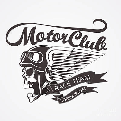 Motor Skull Crest Graphic. - Vector Art Print