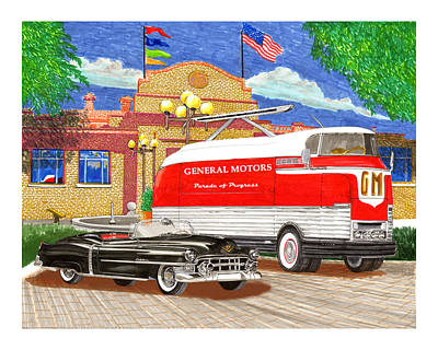 Concept Drawing - Motorama General Motors Mobile Showroom  On Tour by Jack Pumphrey