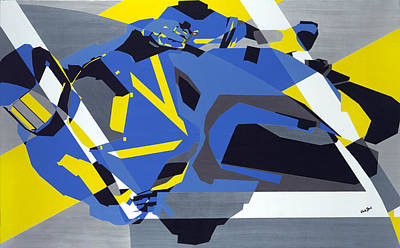 Thrilled Painting - Motorbike 1 by Olivia Davis