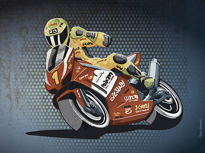 Sports Drawing - Motorbike Racing Grunge Color by Frank Ramspott