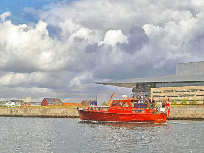 Digital Art - Motorboat In Front Of The Copenhagen Opera House by Digital Photographic Arts