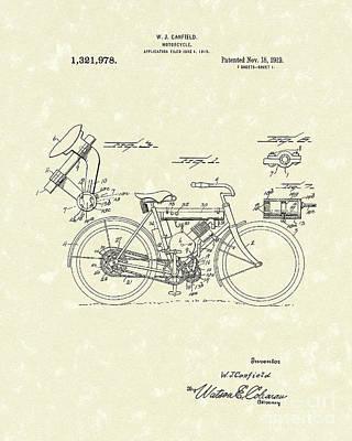 Motorcycle 1919 Patent Art Art Print by Prior Art Design