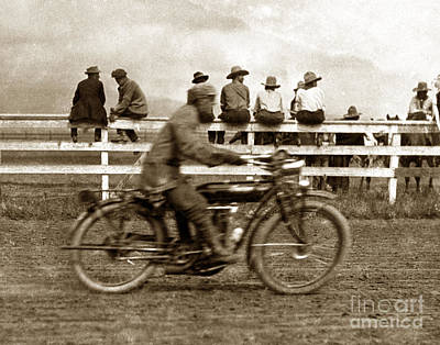 Photograph - Motorcycle At Salinas California Rodeo Grounds Circa 1910 by California Views Mr Pat Hathaway Archives