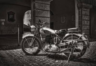 On Paper Photograph - motorcycle BSA 500 by Leonardo Marangi
