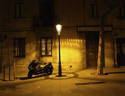 Motorcycle By Lamplight In Barcelona Art Print