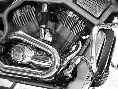 Photograph - Motorcycle Close-up Bw 1 by Anita Burgermeister