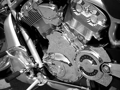 Photograph - Motorcycle Close-up Bw 2 by Anita Burgermeister
