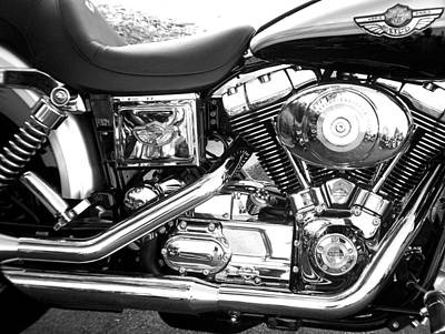 Photograph - Motorcycle Close-up Bw 3 by Anita Burgermeister