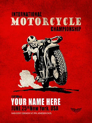 Customized Photograph - Motorcycle Customized Poster 1 by Mark Rogan