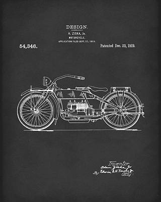 Drawing - Motorcycle Design 1919 Patent Art Black by Prior Art Design