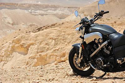 Motorcycle In A Desert Art Print