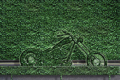 Motorcycle Made Of Ivy Art Print by Mike Agliolo