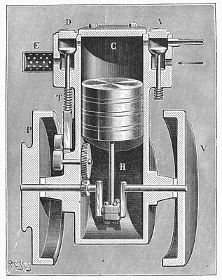 Photograph - Motorcycle Motor, 1898 by Granger