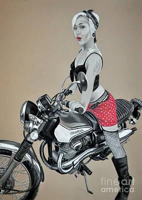 Drawing - Motorcycle Pin Up by Joe Dragt