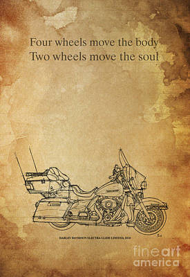 Handmade Drawing - Motorcycle Quote - Four Wheels Move The Body... by Pablo Franchi