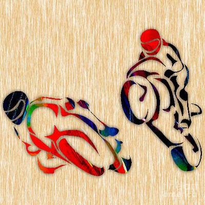 Motorcycle Mixed Media - Motorcycle Racing by Marvin Blaine