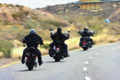 Motorcycle Road Trip  Art Print by Gravityx9  Designs