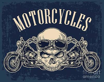 Steel Wall Art - Digital Art - Motorcycle Side View And Skull With by Morevector