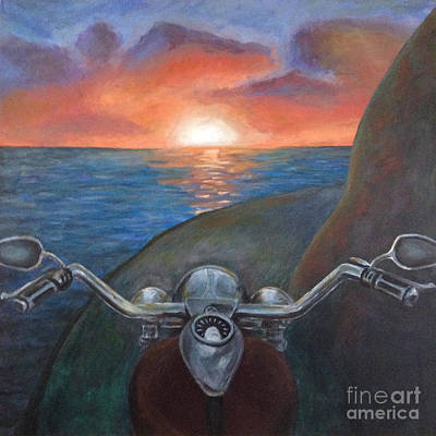 Painting - Motorcycle Sunset by Samantha Geernaert