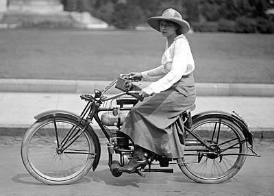Motorcycle Woman C. 1917 Art Print