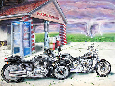 Painting - Motorcycles by Chris Dreher