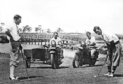 Motorcycles Set Golf Record Art Print by Underwood Archives