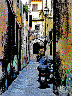 Art Print featuring the digital art Motorcyle In Florence Alley by Jennie Breeze