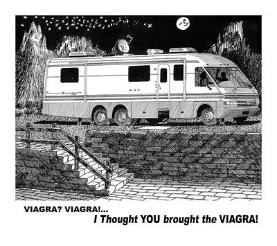 Your Home Drawing - Motorhome Viagra Moonlight R V Camping by Jack Pumphrey