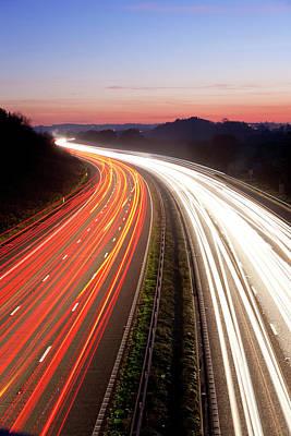 Motorway Photograph - Motorway At Dusk, Gloucestershire, Uk by Peter Adams