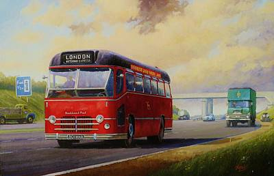 Motorway Express 1959. Art Print by Mike  Jeffries