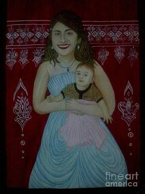 Syeda Ishrat Painting - Motther And Child Love by Syeda Ishrat