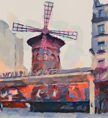 Digital Art - Moulin Rouge Paris by Yury Malkov