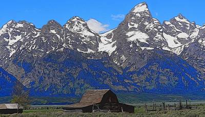 Log Cabin Mixed Media - Moulton Barn In Grand Teton National Park by Dan Sproul