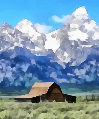 The Tetons Painting - Moulton Barn Painting by Dan Sproul