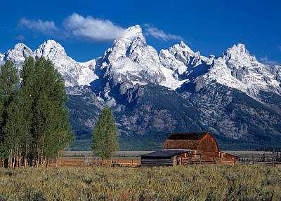 Moulton Barn Tetons Art Print by Leland D Howard