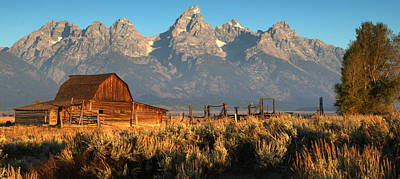 Sunrise Photograph - Moulton Barn - The Tetons by Stephen  Vecchiotti