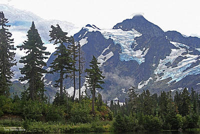 Art Print featuring the photograph Mount Baker And Fir Trees And Glaciers And Fog by Tom Janca