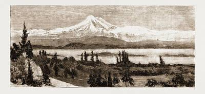 Mount Baker And San Juan Island As Seen Through A Field Art Print