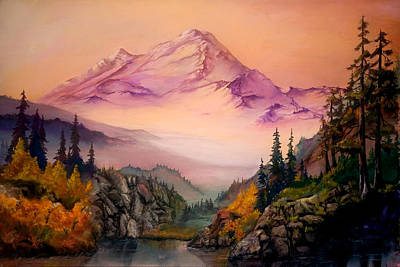 Art Print featuring the painting Mount Baker Morning by Sherry Shipley