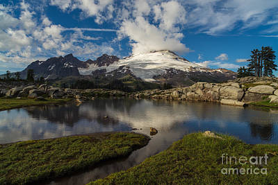 Photograph - Mount Baker Skies Reflection by Mike Reid