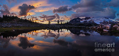 Photograph - Mount Baker Sunset Cloudscape Panorama by Mike Reid