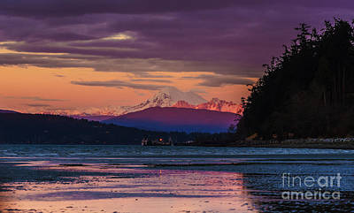 Baker Island Photograph - Mount Baker Tideflats Sunset Alpenglow Reflection by Mike Reid
