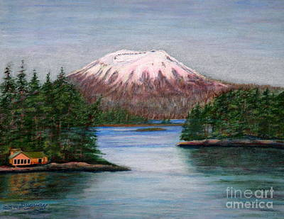 Drawing - Mount Edgecumbe Alaska by Lora Duguay