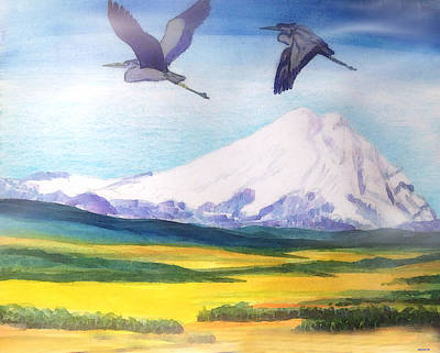 Mount Elbrus Watching Blue Herons Fly Over Sunflower Fields Art Print