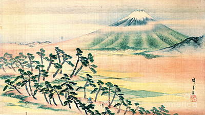 Japanese Silk Photograph - Mount Fuji 1890 by Padre Art