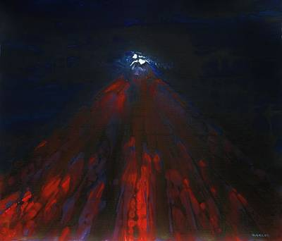 Painting - Mount Fuji By Night 2003 by Karl Leonhardtsberger