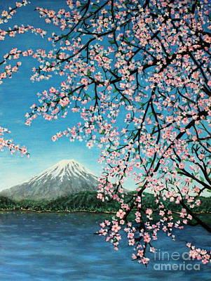 Mount Fuji Cherry Blossoms Art Print by Sheena Kohlmeyer