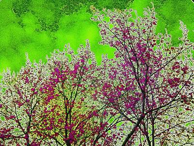 Tree Blossoms Mixed Media - Mount Fuji In Bloom by Pepita Selles
