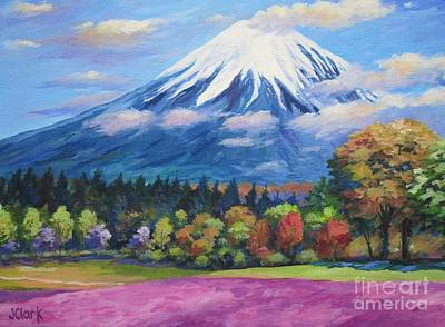Japanese-art Painting - Mount Fuji Shibazakura by John Clark